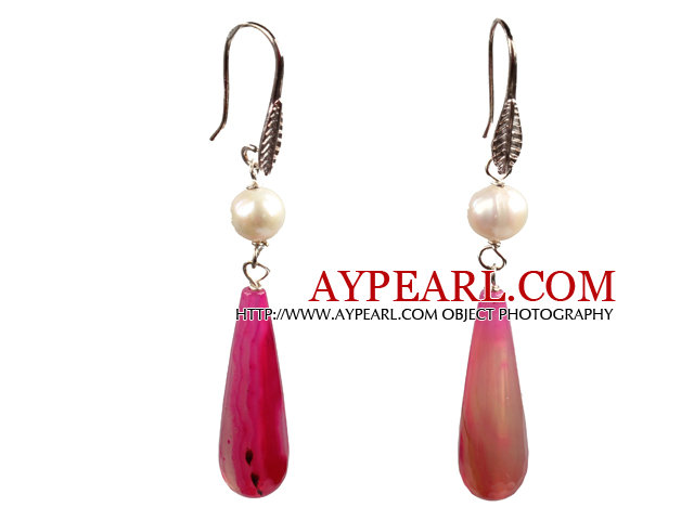 Summer Style Natural White Pearl Faceted Drop Shape Pink Agate Dangle Earrings