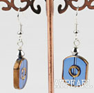 Fashion Crystal And Blue Hexagon Glass Bead Dangle Earrings With Fish Hook