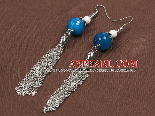 Fashion Long Style Blus Agate And White Porcelain Bead Alloyed Tassel Dangle Earrings