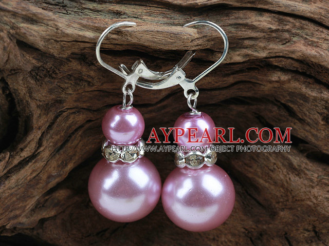 New Design Snowman Shape Pink Seashell Christmas Earrings