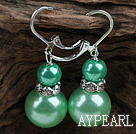 Wholesale New Design Snowman Shape Dark Green Seashell Christmas Earrings