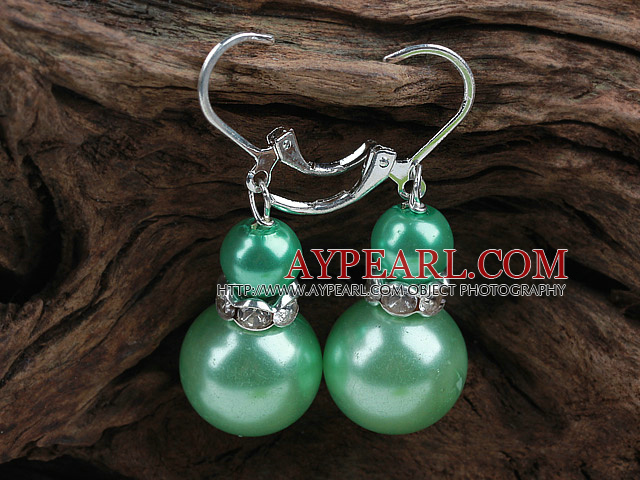 New Design Snowman Shape Dark Green Seashell Christmas Earrings