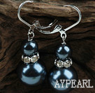 New Design Snowman Shape Dark Blue Black Seashell Christmas Earrings