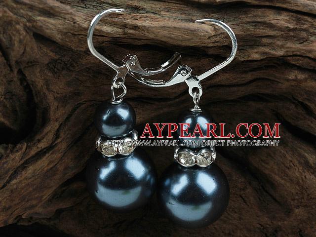New Design Snowman Shape Dark Blue Black Seashell Christmas Earrings