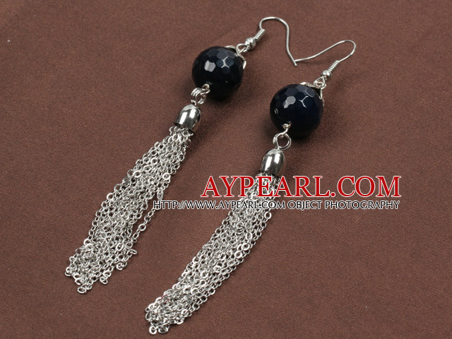 Fashion Long Style Faceted Black Agate Bead Alloyed Tassel Dangle Earrings