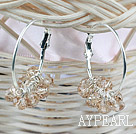 Fashion Large Loop Smoky Crystal Cluster Dangle Earrings