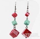 Red Coral and Turquoise Dangle Earrings