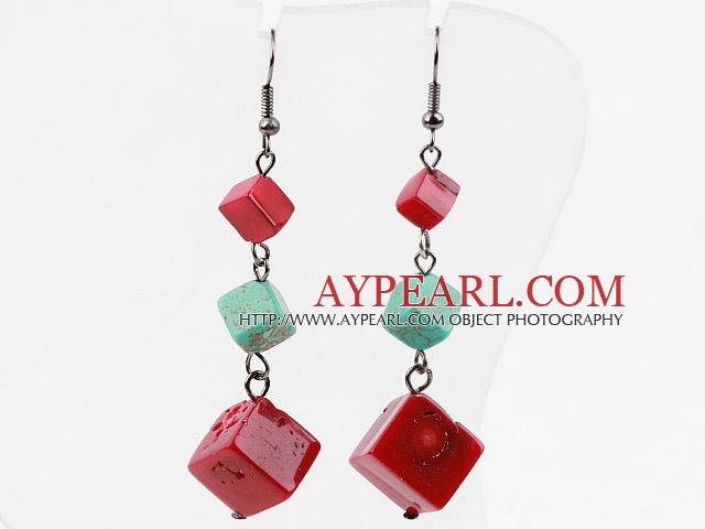 Beautiful Cubic Red Coral And Blue Turquoise Dangle Earrings With Fish Hook