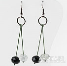 Wholesale Black Crystal and Rainbow Fluorite Flower Earrings