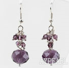 Simple Style Purple Crystal Earrings