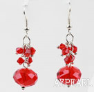 Simple Cluster Style Red Crystal Ball Loop Link Dangle Earrings With Fish Hook