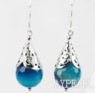Classic Design Faceted Blue Agate Earrings
