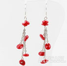 Nice Long Chain Loop Style Red Coral Dangle Earrings With Fish Hook
