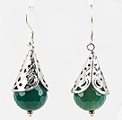 Wholesale Classic Design Faceted Green Agate Earrings