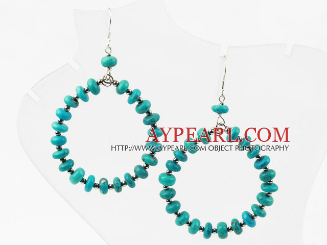 Turquoise and Silver Color Metal Beads Big Hoop Earrings