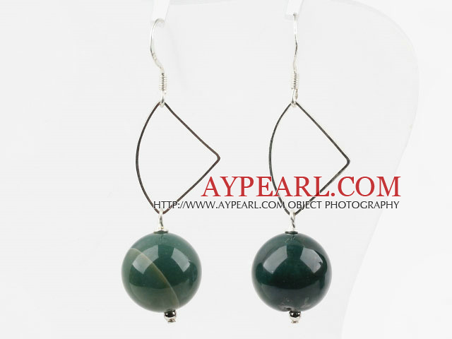 Simple Design 14Mm Round Indian Agate Ball Loop Dangle Earrings With Fish Hook