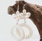Wholesale White Freshwater Pearl and White Shell Fashion Earrings