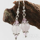 Fashion Simple Style Round Rose Quartz And Pink Crystal Charm Earrings With Fish Hook