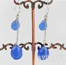 12-16mm blue drop shape crystal earrings
