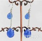 Wholesale 12-16mm blue drop shape crystal earrings