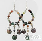 Beautiful Large Loop Round Colorful Indian Agate Dangle Earrings With Fish Hook