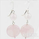 Lovely Style Round And Caky Shape Rose Quartz Dangle Earrings With Fish Hook