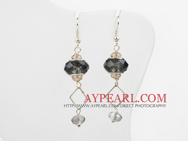 Fashion European Colored Glaze And Multi Crystal Charm Earrings