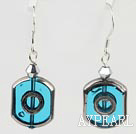 Simple Style Sky Blue And Gray Crystal Glass Beads Earrings With Fish Hook