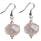 Beautiful Irregular Shape Rose Quartz Natural Pearl Dangle Earrings