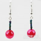 Wholesale Simple Design Rose Color Agate Dangle Earrings