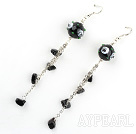 Fashion Style Black Colored Glaze Dangle Earrings