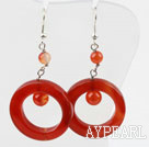Classic Design Round And Large Donut Shape Carnelian Dangle Earrings With Fish Hook
