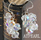 Lovely Cluster Style Sparkle White Crystal Dangle Earrings With Fish Hook