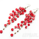 Wholesale New Design Red Coral Dangle Xmas Holiday Earrings