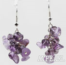 Lovely Cluster Loop Style Amethyst Chips Dangle Earrings With Fish Hook