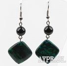 Dangle Style Round Black Agate and Diamond Shape Phoenix Stone Earrings
