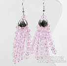 Wholesale Fansy Style Pink Crystal Tassel Earrings
