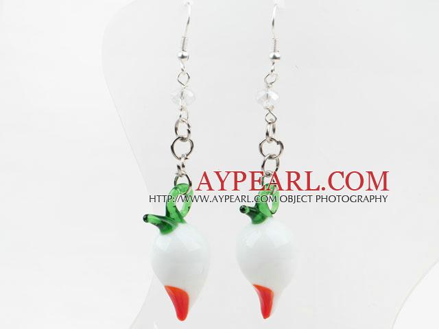 Lovely Style Radish Shape White Colored Glaze Earrings
