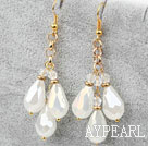 Wholesale Long Style Drop Shape Opal Crystal Earrings with Yellow Metal Chain