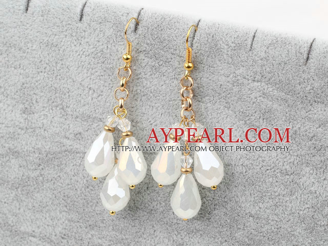 Long Style Drop Shape Opal Crystal Earrings with Yellow Metal Chain
