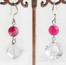 Wholesale pink agate and white crystal dangle earrings