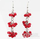 Wholesale Long Style Red Coral Dangle Earrings with Metal Chain