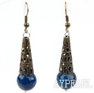 Wholesale Vintage Style Faceted Blue Agate Earrings