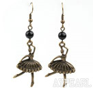 Wholesale Black Agate Earrings with Bronze Ballet Fairy Accessories
