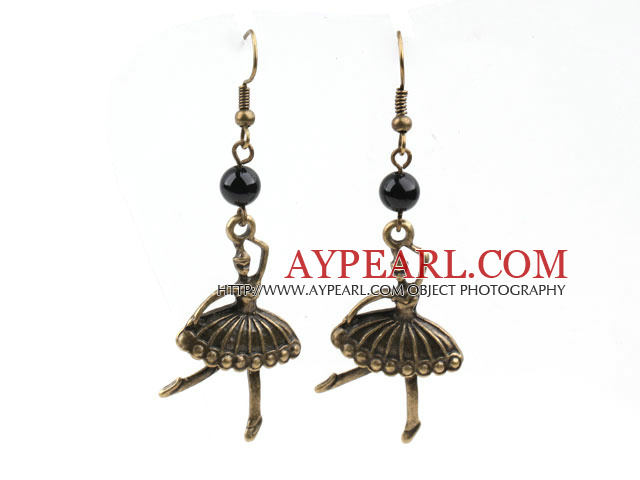 Black Agate Earrings with Bronze Ballet Fairy Accessories