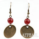 Wholesale Red Carnelian Earrings with Bronze Flat Accessories