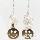 White Freshwater Pearl Earrings with Bronze Smile Face Accessories