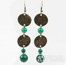 Vintage Style Green Agate Earrings with Bronze Flat Accessories