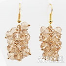 Wholesale Cluster Style Silver Champagne Color Crystal Earrings