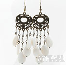 Vintage Style Drop Shape White Shell and Crystal Earrings